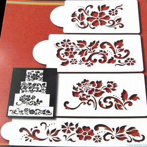 Cake Decoration Printable : 4Pcs/Set Decorating Cake Stencils Template Wedding Cake ...