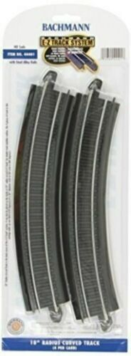 "Bachmann Trains Snap-Fit E-Z Track 18"" Radius Curved Track 4//card"