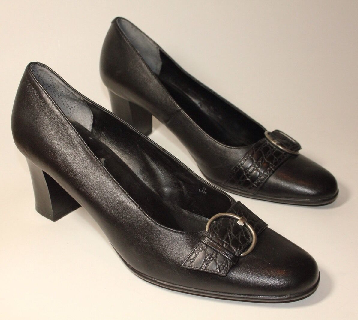 Footglove womens black leather mid heel shoes uk 8 worn once