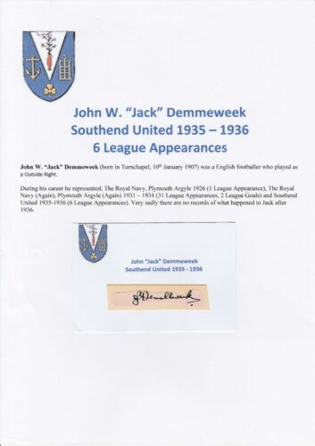JACK DEMMEWEEK SOUTHEND UTD 19351936 VERY RARE ORIGINAL HAND SIGNED CUTTING