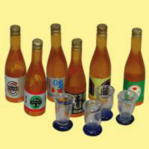 Miniature  --  6 Beer Bottles 4 Glasse 1:12 doll houses,craft projects