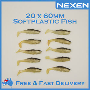 20-x-60mm-Soft-Plastic-Lure-Bream-Jew-Snapper-Squidgies-Squidgy-Gulp-Jighead