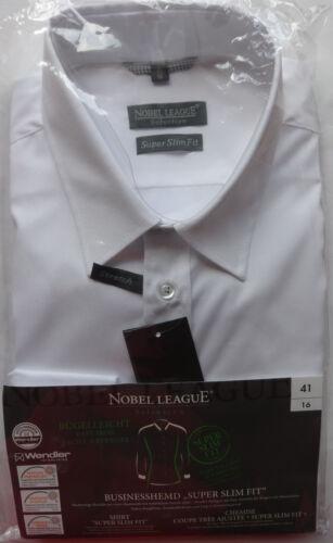 Herren Hemd Nobel League Weiß Businesshemd Super Slim Fit Bügelleicht 39-43