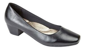 Ladies-Plain-Black-Court-Shoes-Low-Heel-Work-Office-Size-3-4-5-6-7-8-UK