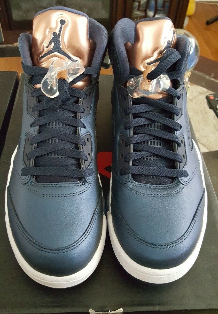 NIKE AIR JORDAN 5 RETRO  BRONZE blueE  SZ 10.5 BRAND NEW