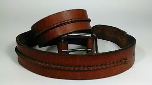 Men-039-s-Casual-Genuine-Leather-Brown-Belt-Heavy-Silver-Color-Buckle-Size-40