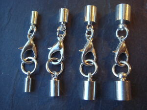 Silver Plated Barrel Leather Cord Ends Lobster Clasp Extension Chain 2.5 Mm New
