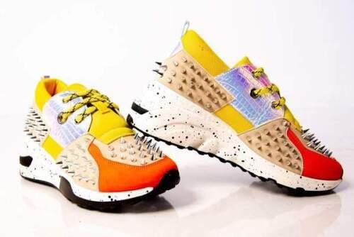 Cape Robbin Saffron Nude Multi Metal Spike Chunky Thick Sole Platform Sneaker