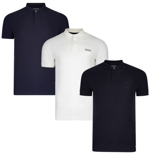 Firetrap New Mens Plain Casual Cotton Polo Shirt T-shirt Plain Piqué Jersey Top