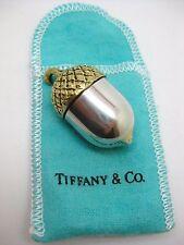Tiffany & Co. 925 Sterling ~ GOLD OVERLAY ACORN PILL BOX ~ Silver & Original Bag