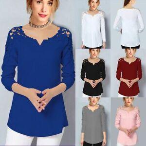 New-V-Neck-Top-Floral-Casual-Short-Sleeve-Elegant-Fashion-Womens-Jumper-Solid