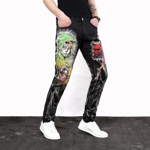 Men/'s Graffiti Slim Crayon Pantalon Denim Pantalon Hip Hop impression Fashion Jeans