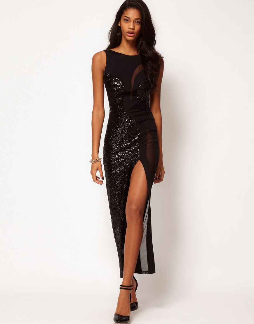New SEQUIN AND SHEER PANEL MAXI DRESS 18   16