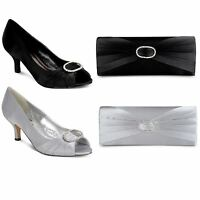 Ladies Low Heel Diamante Ruffle Effect Women's Smart Shoes Clutch Bag Set