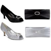 Ladies Low Heel Diamante Ruffle Effect Women's Smart Shoes Clutch Bag Set