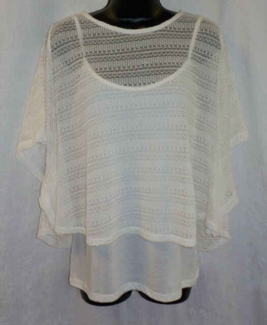 df205dc24a072 Bobbie Brooks 2 Piece Top Size M NWT White Crochet Top + Tank Polyester  Blend