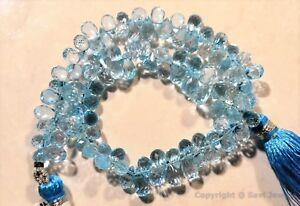 Blue-TOPAZ-6-5-8-5mm-Micro-Faceted-Sidedrill-Drops-4-12-100-Beads-Select-A-Size