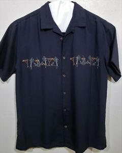 Men-039-s-Tropical-Shirt-Black-with-Embroidered-Palm-Tree-039-s-and-Drink-039-s-Trader-Bay-M