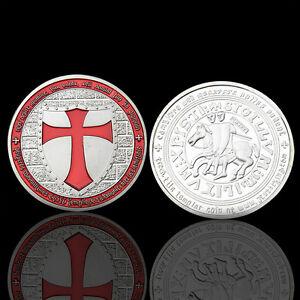 1x-Masonic-Knights-Templar-Red-Cross-Silver-Colored-One-Token-Souvenir-Iron