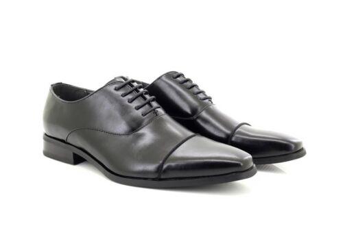 Chaussures À Cuir Noir Hommes Tjtj Classique En Lacets Doublure Capped Toe VpUqzMS