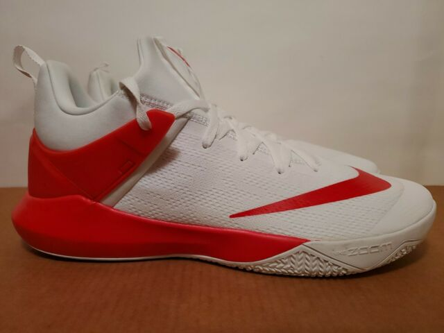 Mens Nike Zoom Shift TB Basketball Shoes Size 15 White Red 942802 102