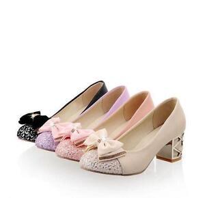 Wedding-Block-Heel-Bowknot-Slip-On-Round-Toe-Pump-Mary-jane-Ladies-shoes-Plus-sz
