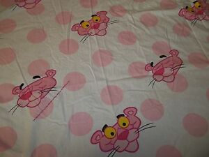 Vintage PINK PANTHER Cat Cartoon character Twin Flat Bed Sheet {Fabric}