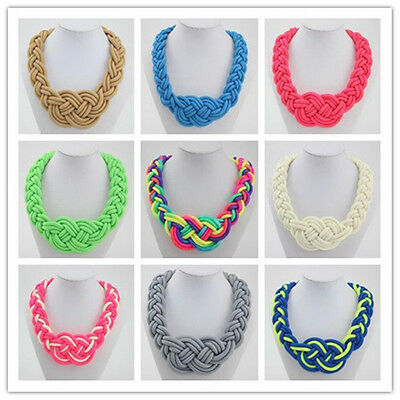 Fashion Occident style handmade woven Chinese knot cotton rope necklace as gift