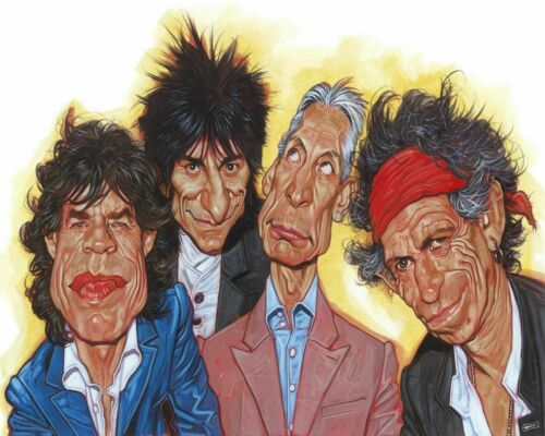 The Rolling Stones Caricature Painting Artwork Paint By Numbers Kit DIY