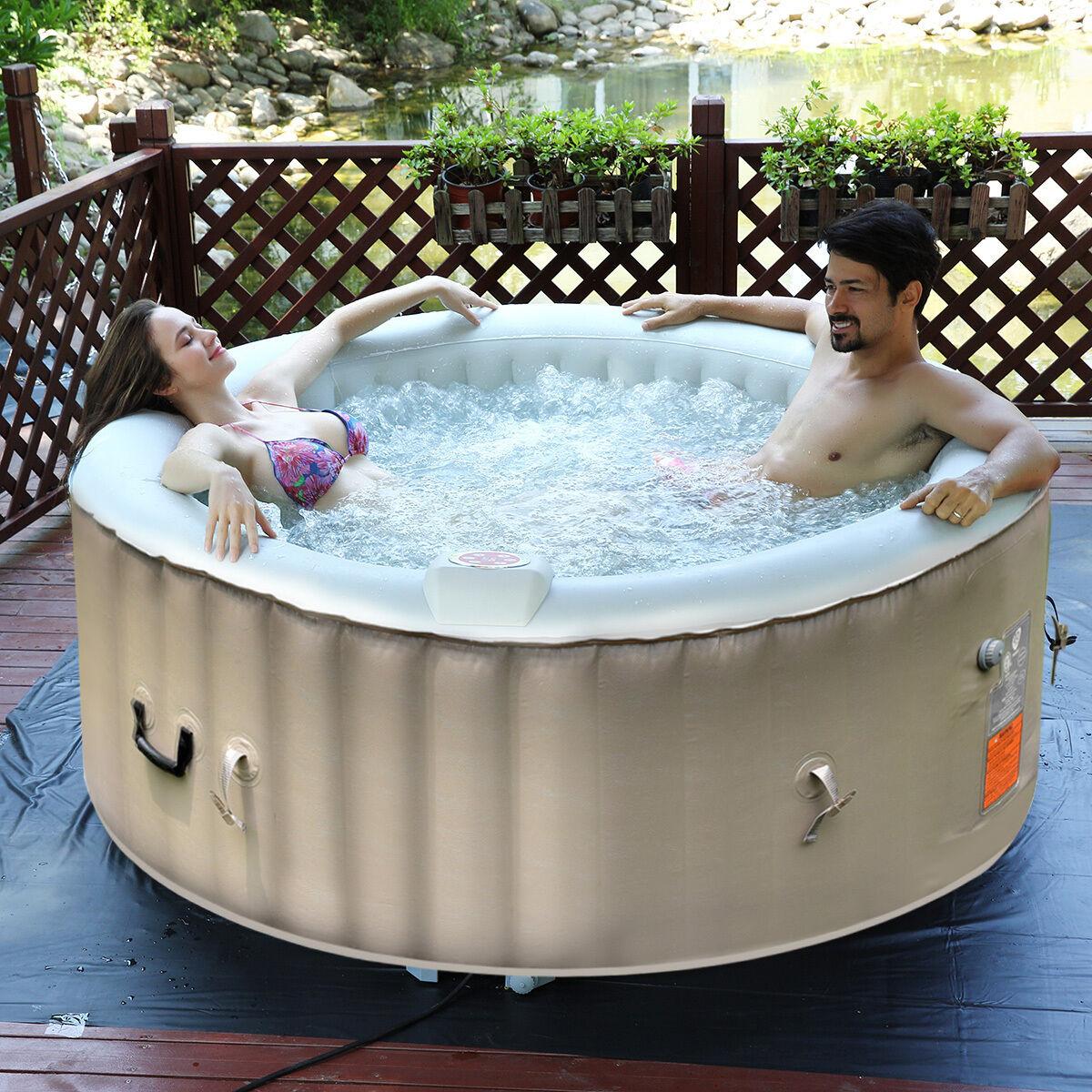 Goplus Portable Inflatable Bubble Massage Spa Hot Tub 4 Person ...
