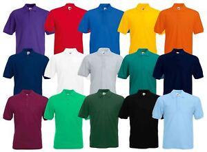 632cc1d0 Fruit of the Loom Plain Cotton Mens Polo Shirts T-Shirt Short Sleeve ...