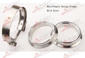 "2"" Self Aligning Male/Female V-Band Vband Clamp CNC Mild Steel Flange Kit"