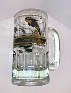 Vintage SEA WORLD 5 inch Tall Glass Souvenir Mug - SHAMU - Dolphins