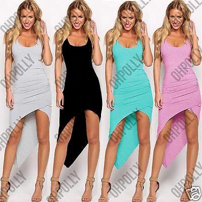 Womens Summer Asymmetric Hem Bodycon Party Cocktail Sleeveless Grey Vest Dress
