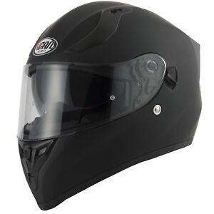 VCAN-V128-MATT-BLACK-DUAL-VISOR-ACU-GOLD-MOTORCYCLE-MOTORBIKE-FULL-FACE-HELMET
