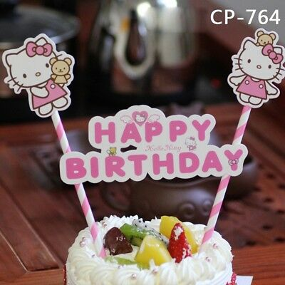 Superb Hello Kitty Birthday Cake Topper Banner Theme Party Supply Ebay Personalised Birthday Cards Cominlily Jamesorg