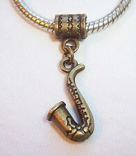 Saxophone Musical Instrument Bronze Tone Dangle Bead for European Charm Bracelet