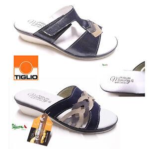 separation shoes fa028 22d80 Dettagli su TIGLIO MEMORY OFFERTA ciabatte pantofole donna estive comode  aperte solettaPELLE
