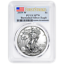2019-W Burnished $1 American Silver Eagle PCGS SP70 First Strike Flag Label