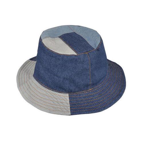 Men Washed Denim Patchwork Wide Brimmed Bucket Hat Solid Visor Fishing Cap