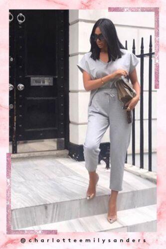 Womens Ladies Gina Grey short sleeve V boxy loungewear set Casual Comfy 8-14 UK