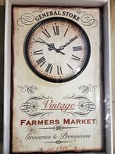 """Wanduhr / Uhr """" farmers Market """" / Vintage Landhaus Deko Wanddeko Küche est 1846"""