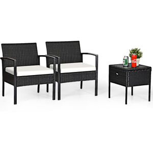 3PCS Outdoor Patio Rattan Bistro Furniture Set with Cushion & Storage Table