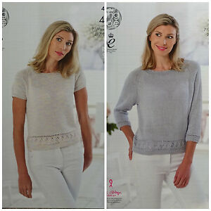 Knitting Pattern Ladies 3 4 Or Short Sleeve Jumper Gizacotton 4ply