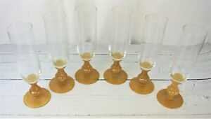 Champagne-Wine-Glass-Flutes-Yellow-Tan-Colored-Spotted-Designed-Base-Set-of-6