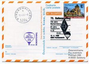 1986 Ballonpost N. 75 Pro Juventute Aerostato Oe-kzm Frankermarkt Strasswalchen Usines Et Mines