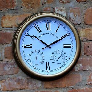 Garden-Station-Clock-Indoor-Outdoor-Copper-effect-Temperature-Humidity-38cm