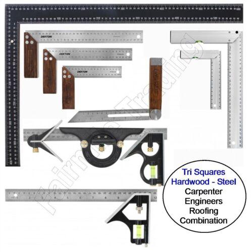 Metal Hardwood Tri Square Try Set Adjust Angle Slide Ruler Frame Combination