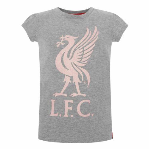 Liverpool FC gris chiné fille Football paillettes Liverbird T-shirt LFC Officiel
