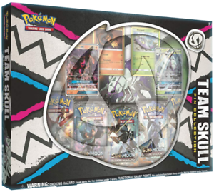 Pokemon TCG Team Skull Pin Collection Box 5 Booster Packs + 2 GX Cards